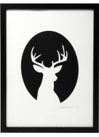 Hand Printed Deer Cameo Print