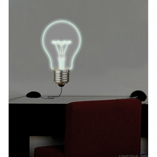 small light up bulb wall art sticker. Black Bedroom Furniture Sets. Home Design Ideas
