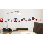 20 Fun Assorted Designs Round  Wall Art Stickers