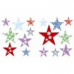 Multi-coloured Stars Fun Wall Art Stickers